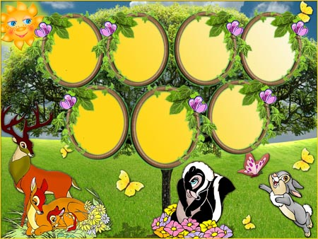 Шаблон с героями мультфильма Бемби